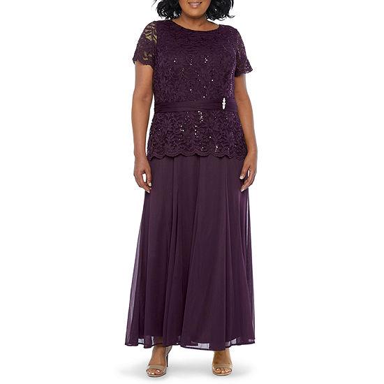Blu Sage Short Sleeve Embellished Evening Gown-Plus