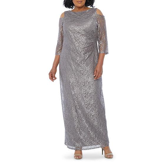 Blu Sage 3/4 Sleeve Cold Shoulder Lace Evening Gown-Plus