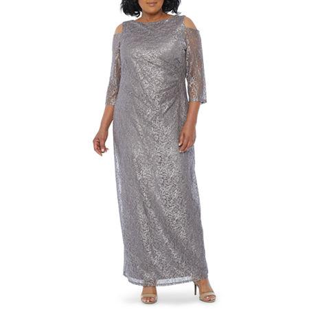 70s Prom, Formal, Evening, Party Dresses Blu Sage 34 Sleeve Cold Shoulder Lace Evening Gown-Plus 14w  Brown $51.99 AT vintagedancer.com