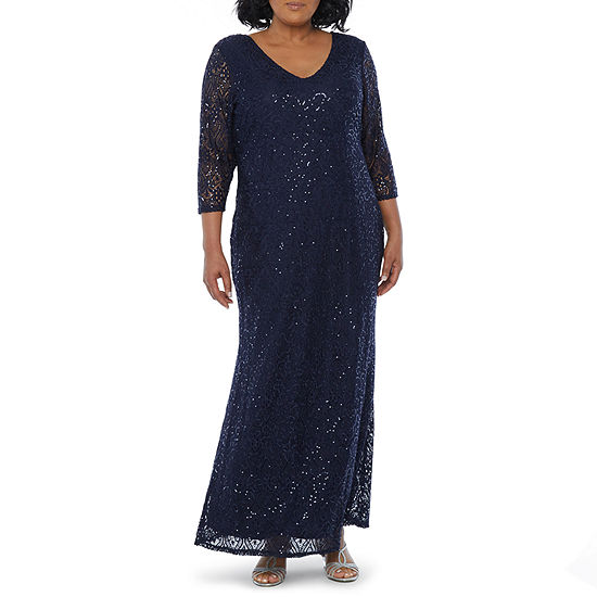 Blu Sage 3/4 Sleeve Sequin Lace Evening Gown-Plus