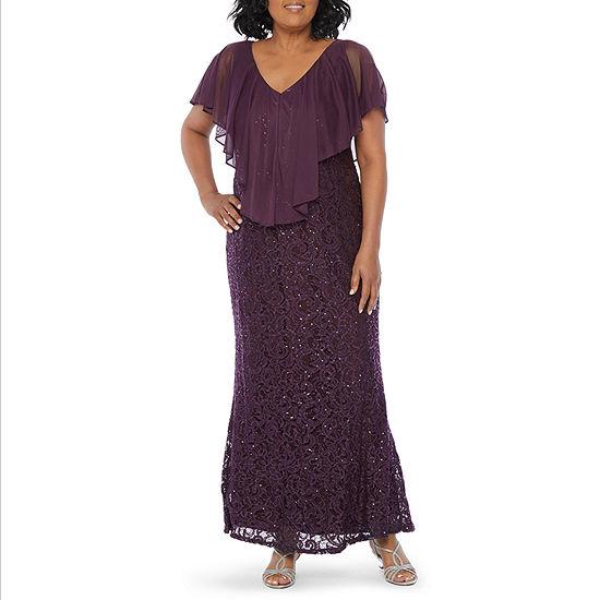 Blu Sage Short Sleeve Sequin Lace Cape Evening Gown-Plus