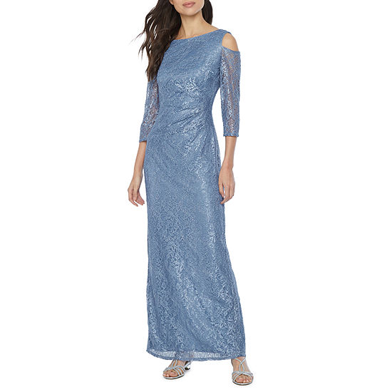 Blu Sage 3/4 Sleeve Cold Shoulder Lace Evening Gown