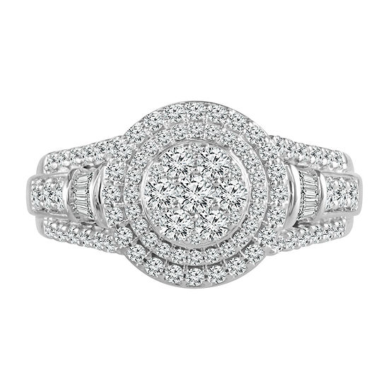 Womens 1 CT. T.W. Genuine Diamond 10K White Gold Engagement Ring