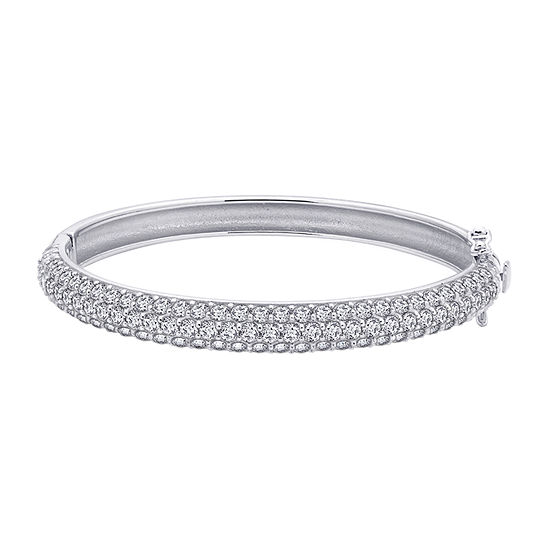 Diamonart White Cubic Zirconia Sterling Silver Bangle Bracelet