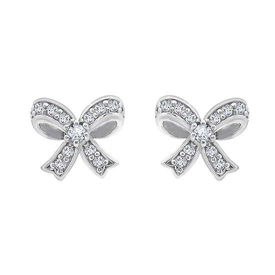 DiamonArt® 1/2 CT. T.W. White Cubic Zirconia Sterling Silver Bow Stud Earrings