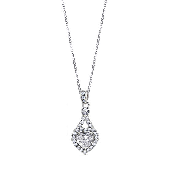 Womens 2 CT. T.W. White Cubic Zirconia Sterling Silver Heart Pendant Necklace