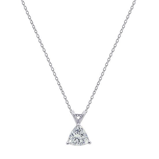 Womens 1 1/7 CT. T.W. White Cubic Zirconia Sterling Silver Triangle Pendant Necklace