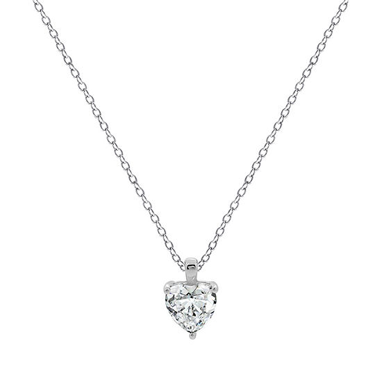 Womens 1 3/4 CT. T.W. White Cubic Zirconia Sterling Silver Heart Pendant Necklace