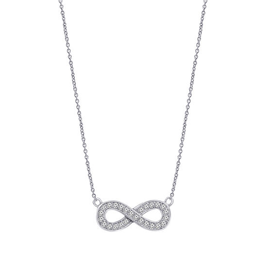 Womens 1/2 CT. T.W. White Cubic Zirconia Sterling Silver Infinity Pendant Necklace