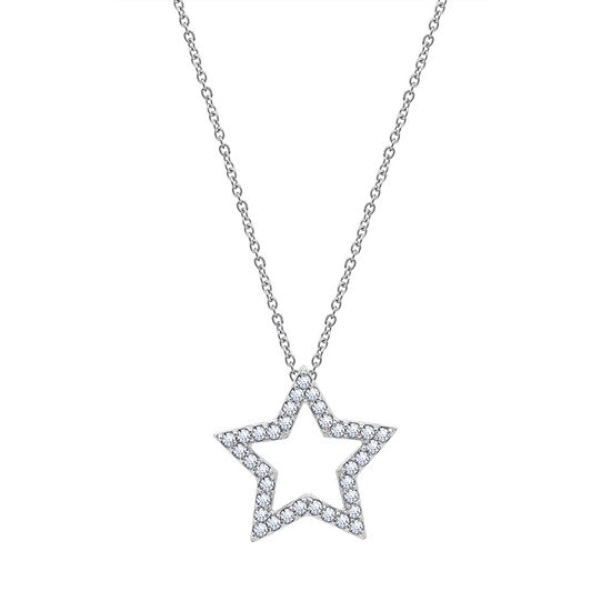 Womens 5/8 CT. T.W. White Cubic Zirconia Sterling Silver Star Pendant Necklace