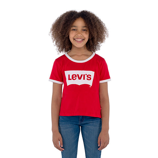 Levi's Retro Ringer Tee-Big Kid Girls Short Sleeve T-Shirt