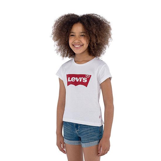 Levi's S/S Batwing Tee Girls Round Neck Short Sleeve T-Shirt-Big Kid