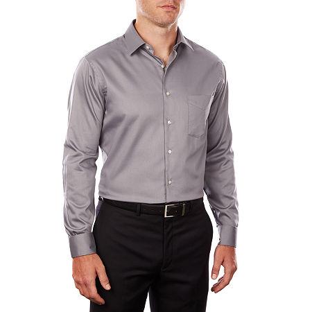 Van Heusen Lux Sateen Stretch Long Sleeve Dress Shirt, 17.5 34-35, Gray
