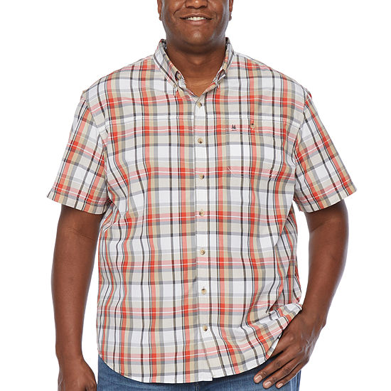 G.H. Bass & Co. Fishing Shirt Mens Short Sleeve Plaid Button-Front Shirt