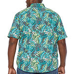 G.H. Bass & Co. Fishing Mens Collar Neck Short Sleeve Button-Front Shirt