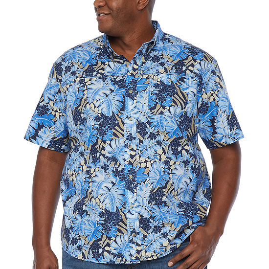 G.H. Bass & Co. Big and Tall Mens Fishing Collar Neck Short Sleeve Button-Front Shirt
