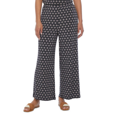 Liz Claiborne Womens Wide Leg Pull-On Pants