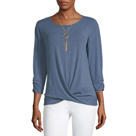 Alyx Womens Round Neck 3/4 Sleeve Knit Blouse, X-large , Blue