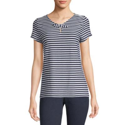 Liz Claiborne-Womens Keyhole Neck Short Sleeve T-Shirt