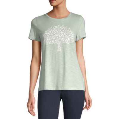 Liz Claiborne Simply-Womens Crew Neck Short Sleeve T-Shirt