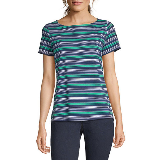 Liz Claiborne Simply-Womens Boat Neck Short Sleeve T-Shirt