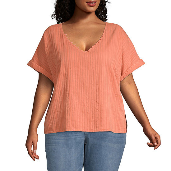 a.n.a-Plus Womens V Neck Short Sleeve Blouse