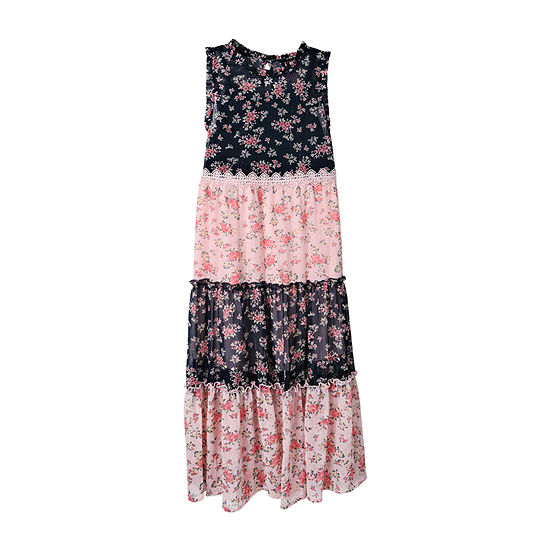 Lilt Big Girls Plus Sleeveless Floral Maxi Dress