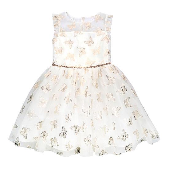 Lilt Little & Big Girls Short Sleeve Flutter Sleeve Fit & Flare Dress