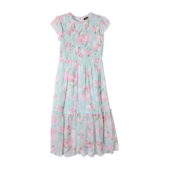 Lilt Big Girls Short Sleeve Floral Maxi Dress