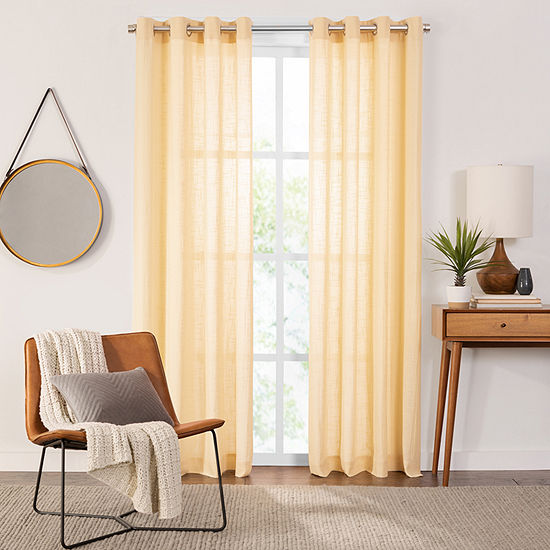 Fieldcrest Arden Solid Cotton Sheer Grommet-Top Single Curtain Panel