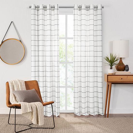 Fieldcrest Arden Windowpane Cotton Sheer Grommet-Top Single Curtain Panel