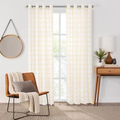 Fieldcrest Arden Windowpane Cotton Sheer Grommet Top Single Curtain Panel