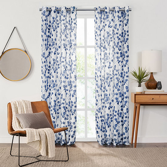 Fieldcrest Arden Botanical Leaf Cotton Sheer Grommet-Top Single Curtain Panel