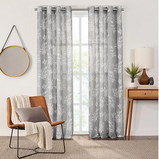Fieldcrest Arden Tossed Bouquet Cotton Sheer Grommet-Top Single Curtain Panel
