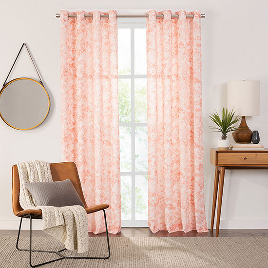 Fieldcrest Arden Speckle Print Cotton Sheer Grommet-Top Single Curtain Panel