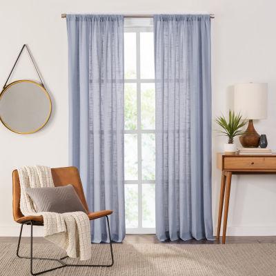 Fieldcrest Arden Solid Cotton Sheer Rod-Pocket Single Curtain Panel