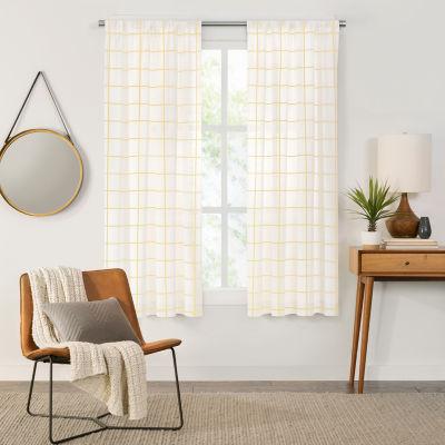 Fieldcrest Arden Windowpane Cotton Sheer Rod-Pocket Single Curtain Panel