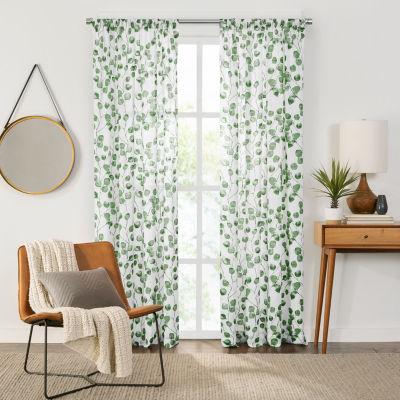 Fieldcrest Arden Botanical Leaf Cotton Sheer Rod Pocket Single Curtain Panel