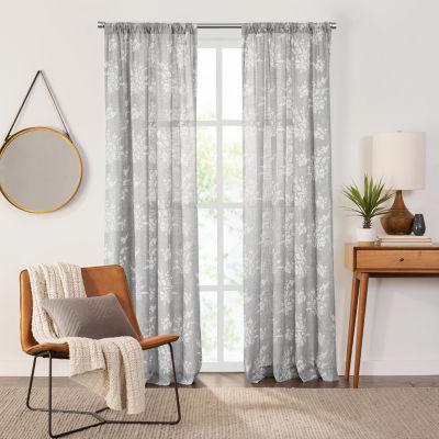 Fieldcrest Arden Tossed Bouquet Cotton Sheer Rod-Pocket Single Curtain Panel