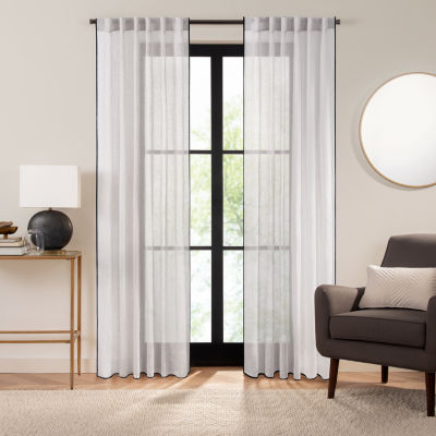 Fieldcrest Luxury Linen Border Stripe Sheer Back-Tab Single Curtain Panel