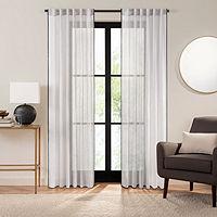 Fieldcrest Luxury Linen Border Stripe Sheer Back-Tab Single Curtain Panel