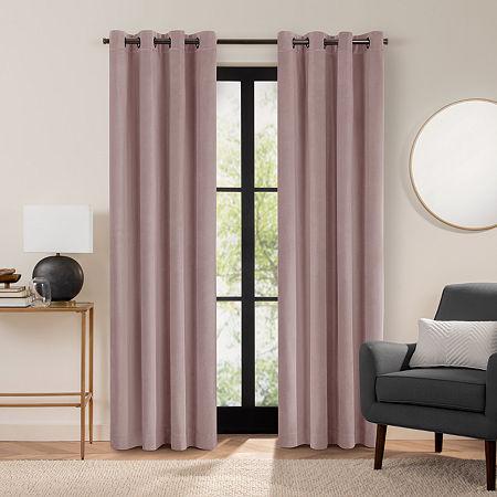 Fieldcrest Luxury Plush Washed Cotton Velvet Energy Saving 100% Blackout Grommet Top Single Curtain Panel, One Size , Pink