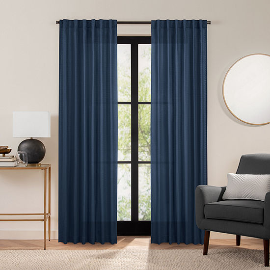 Fieldcrest Luxury Cotton Texture Light-Filtering Back-Tab Single Curtain Panel