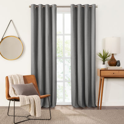 Fieldcrest Devin Solid Cotton Chambray Energy Saving 100% Blackout Grommet-Top Single Curtain Panel