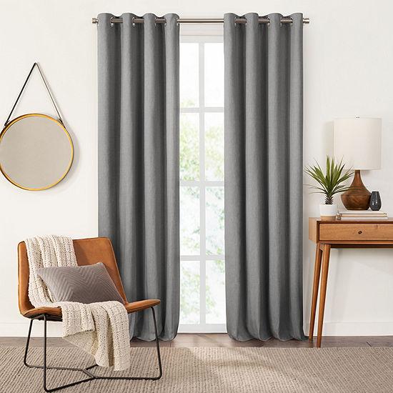 Fieldcrest Devin Solid Cotton Chambray Energy Saving 100% Blackout Grommet-Top Single Curtain Panel
