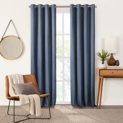 Fieldcrest Devin Solid Cotton Chambray Energy Saving 100% Blackout Grommet Top Single Curtain Panel