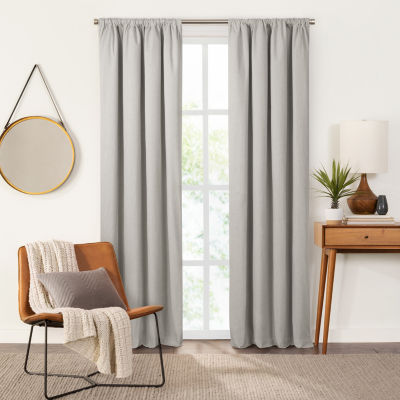 Fieldcrest Devin Solid Cotton Chambray Energy Saving 100% Blackout Rod-Pocket Single Curtain Panel