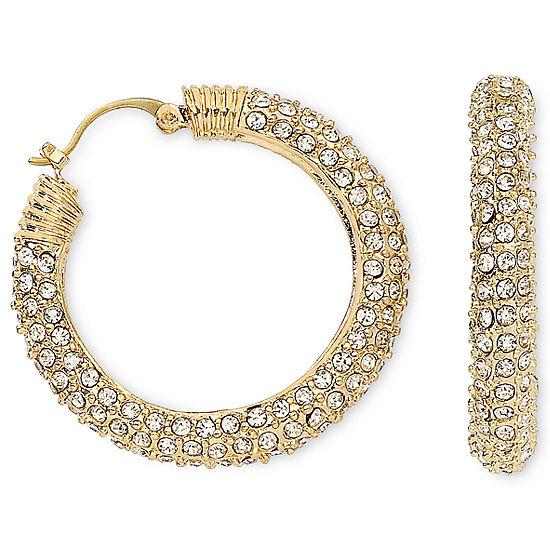 Nicole By Nicole Miller Pave Crystal Gold Tone Hoop Earrings