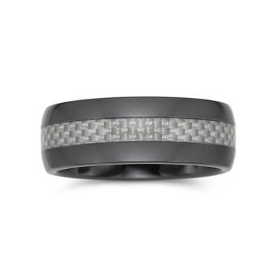 Mens Wedding Band Ceramic & Carbon Fiber