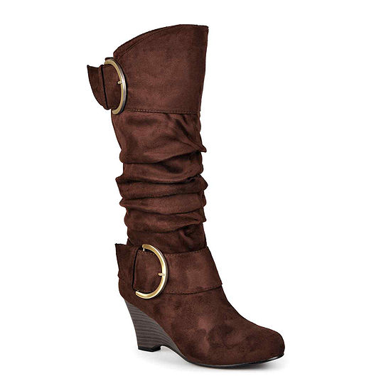 Journee Collection Irene Buckle-Accented Wedge Slouch Boots